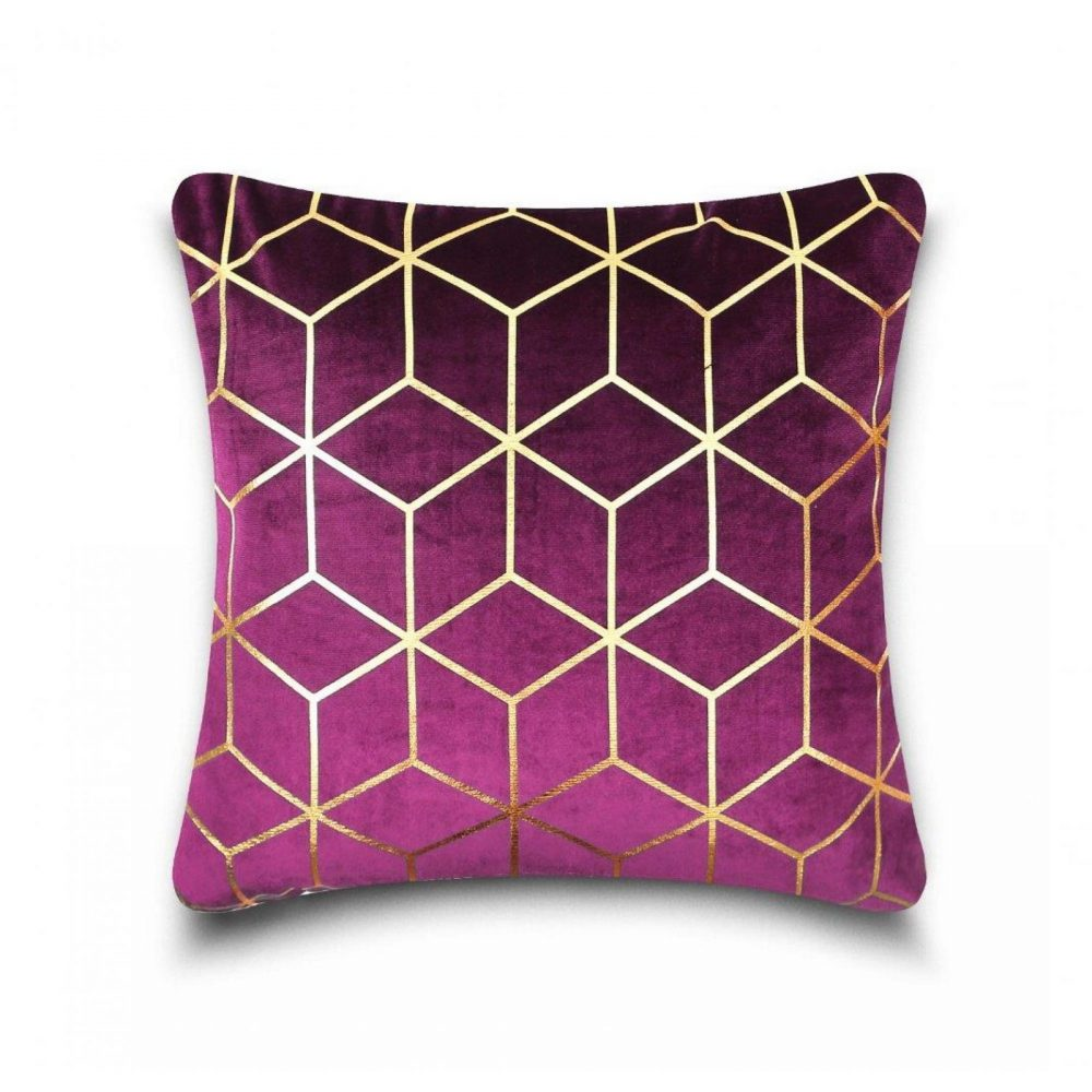 31159889 cushion cover metallic cube 43x43 purple gold 1 4