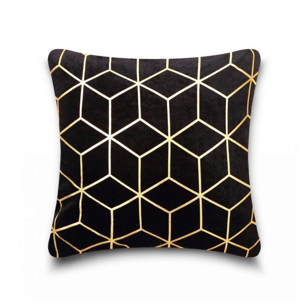 31159896 cushion cover metallic cube 43x43 black gold 1 1