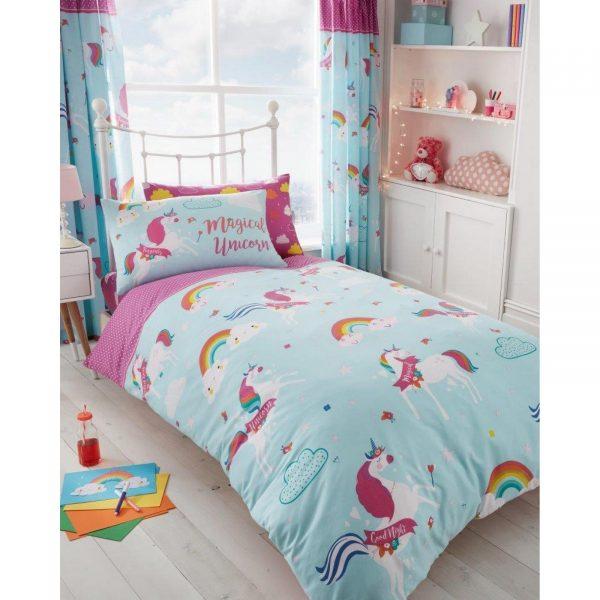 31357308 kids range curtains rotary unicorn fairy tale 66x72 1 1