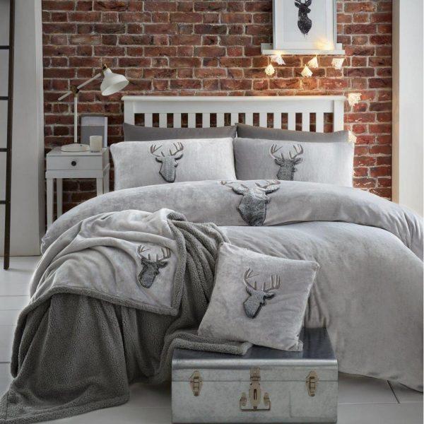 31370284 teddy cushion cover stag head 45x45 grey charcoal 1 2