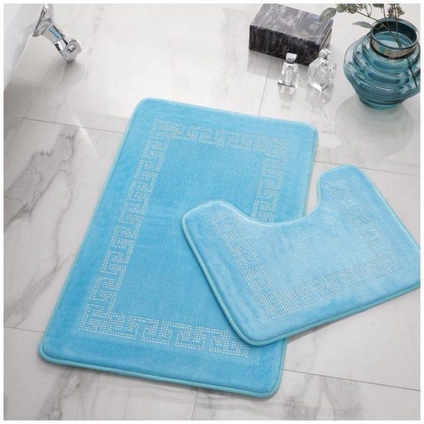41167082 2pc diamond memory bath mat aqua 41167082 1 2
