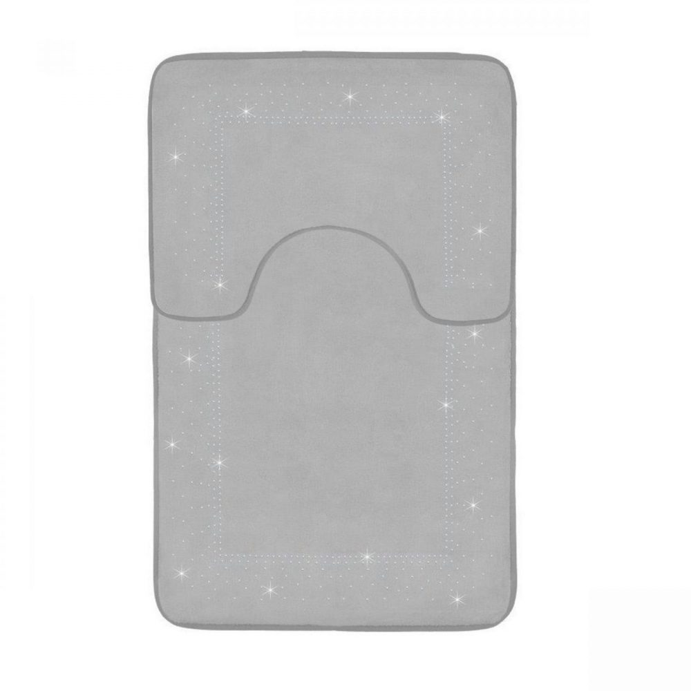 41167112 2pc sparkle memory bath mat silver 41167112 1 3