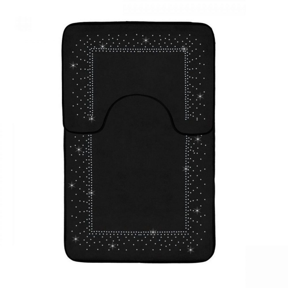 41167174 2pc sparkle memory bath mat black 41167174 1 3