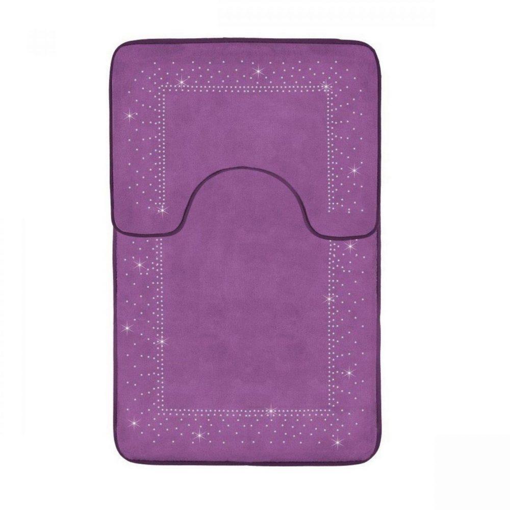 41167198 2pc sparkle memory bath mat purple 41167198 1 3