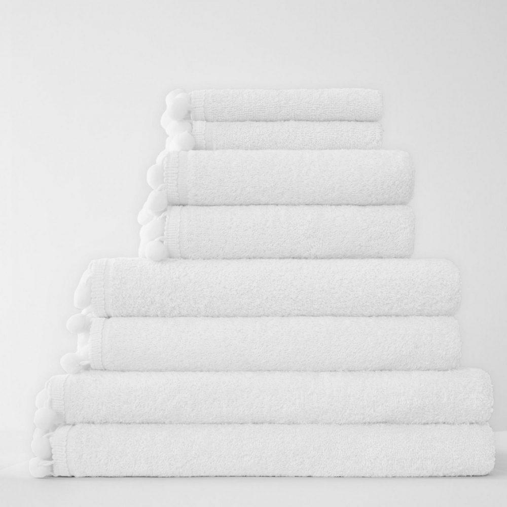 41358503 pom pom bath sheet white 1