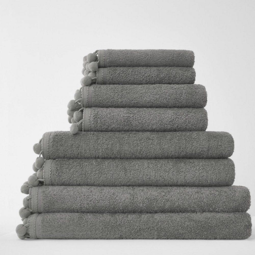 41358534 pom pom bath sheet grey 1