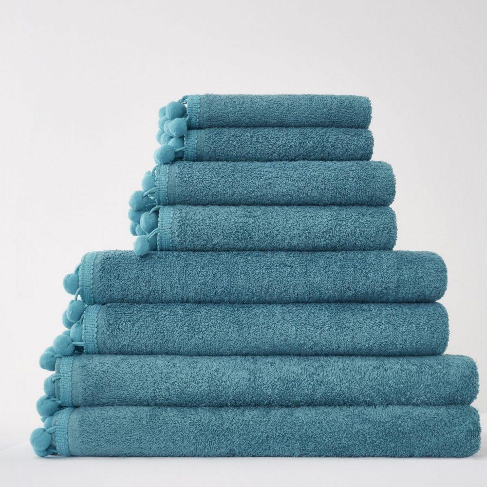 41358565 pom pom bath sheet teal 1