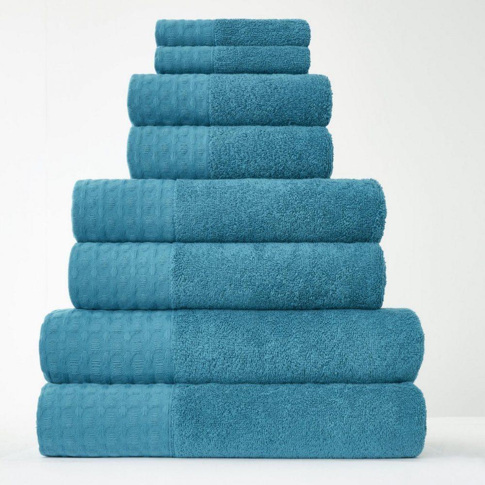 41374183 8pk waffle towel bale teal 1