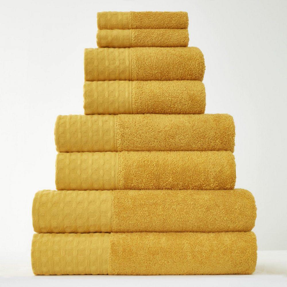 41374206 8pk waffle towel bale ochre 1