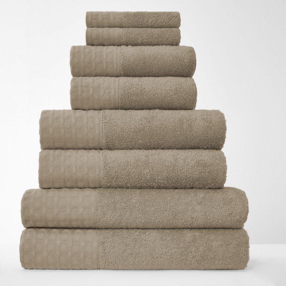 41374220 8pk waffle towel bale natural 1