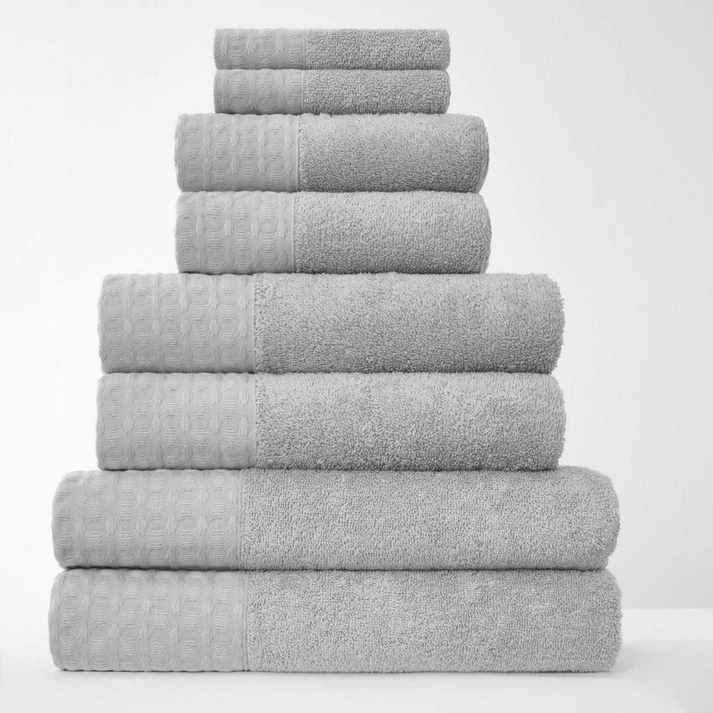 41374237 8pk waffle towel bale grey 1