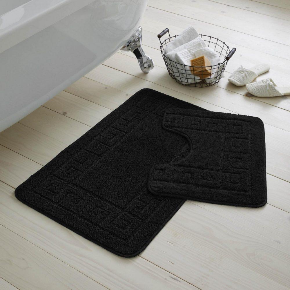 42070177 2pc hanger pack greek bath mat black 1 2