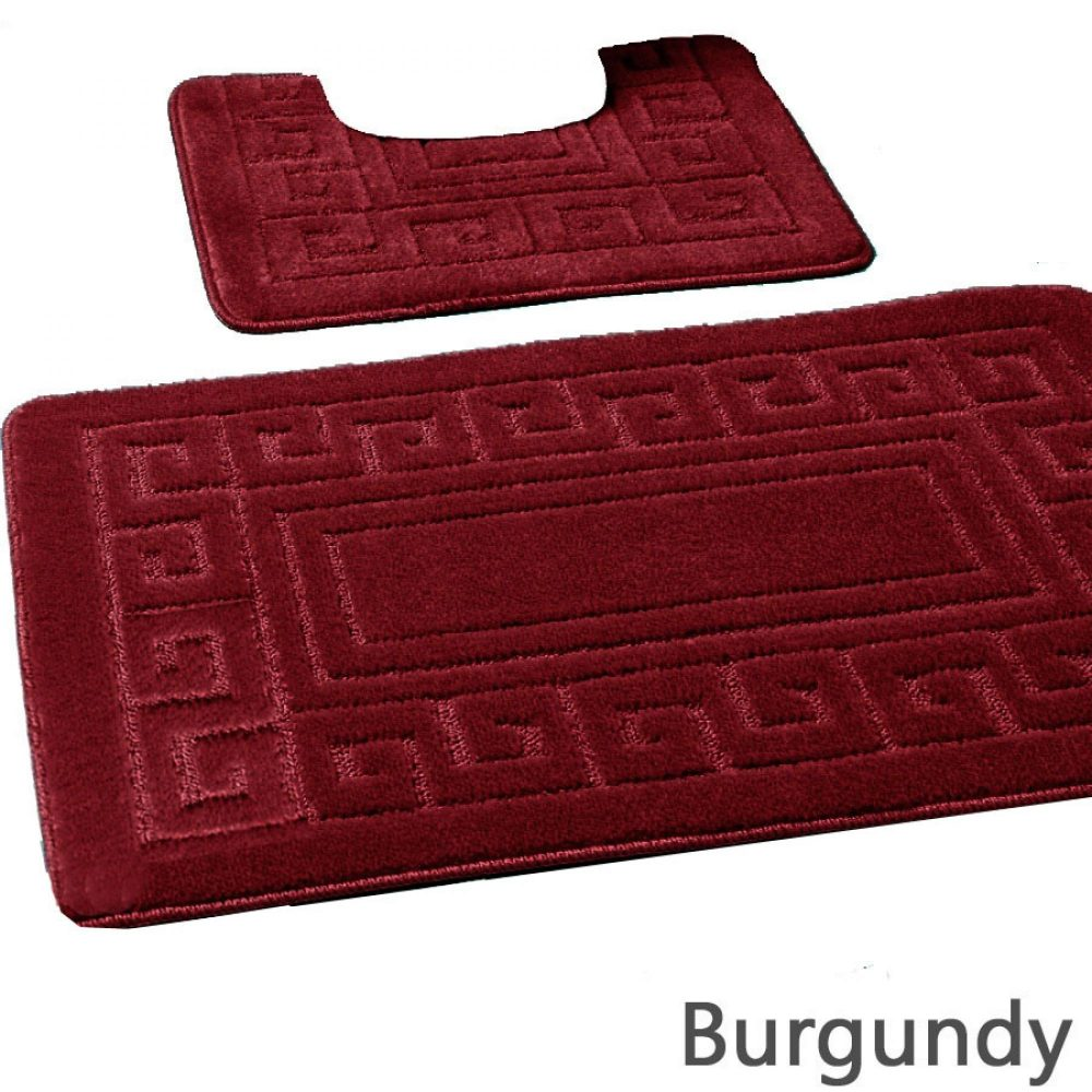 42070191 2pc hanger pack greek bath mat burgundy 15 pcs 1 3